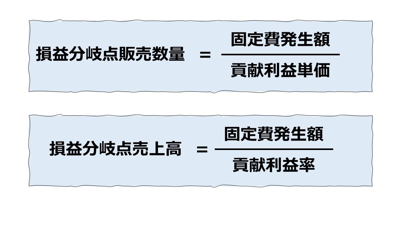 (まとめ)損益分岐点にまつわる公式について
